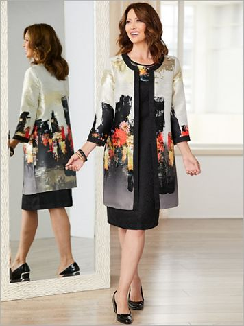 Abstract Foil Floral Jacket Dress - Image 4 of 4