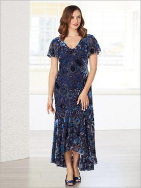 Floral Velvet Burnout Dress by Alex Evenings
