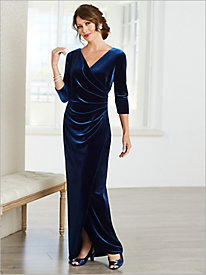 Velvet Draped Gown by Alex Evenings