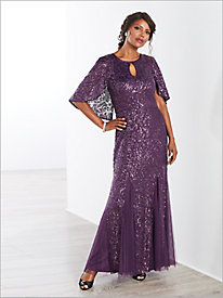 Sequin Lace Flutter Sleeve Gown by Alex Evenings