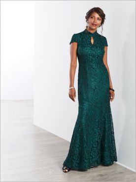 Mandarin Collar Lace Gown by Alex Evenings