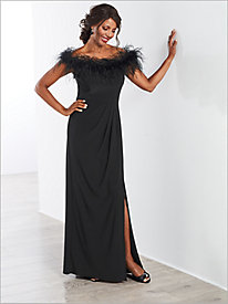 Feather Trimmed Gown by Alex Evenings