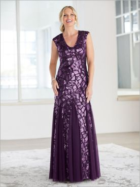 Sequin Lace Godet Gown by Alex Evenings