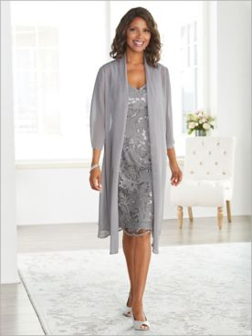 Embroidered Floral Jacket Dress by Alex Evenings