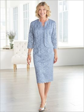 Luxurious Lace Jacket Dress by Alex Evenings