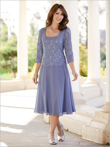Alex Evenings Luxe Lace Special Occasion Tea-Length Dress - Image 1 of 1