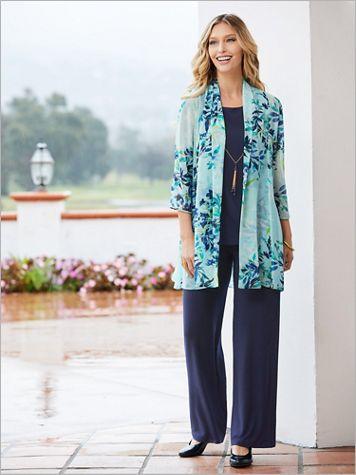 Aqua Floral Pant Set - Image 2 of 2