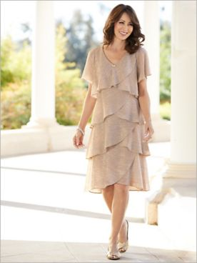 Shimmer Boudre Tiered Dress by Alex Evenings