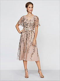 Flirty Floral Flutter Sleeve Dress by Alex Evenings