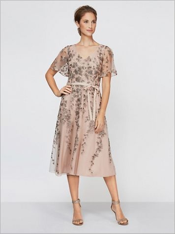 Flirty Floral Flutter Sleeve Dress by Alex Evenings - Image 2 of 2