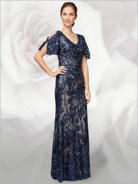 Floral Flutter Sleeve Sequin Gown by Alex Evenings