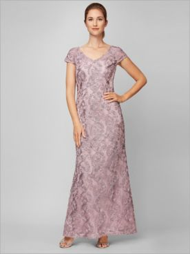 Floral Soutache Gown by Alex Evenings