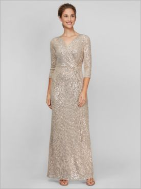 Sequin Knot Waist Gown by Alex Evenings