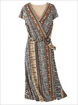Mixed Animal Print Wrap Dress by Ruby Rd.