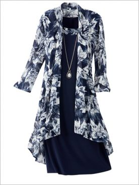 Brushstroke Blooms Mesh Jacket Dress