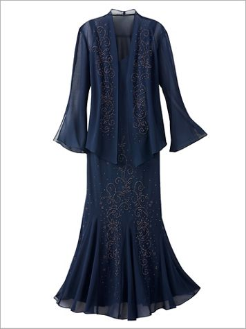 Special Occasion Beaded Jacket Dress - Image 3 of 3