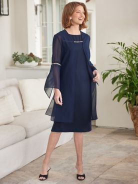Pearl-fection 3/4 Sleeve Jacket Dress