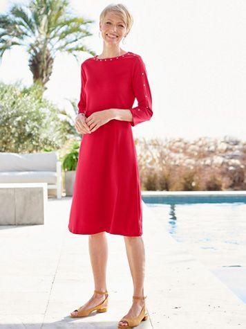Studded Bateau 3/4 Sleeve Knit Dress - Image 1 of 3