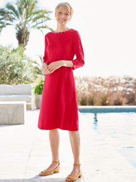 Studded Bateau 3/4 Sleeve Knit Dress
