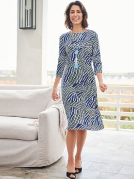 Mystic Mosaic 3/4 Sleeve Knit Dress