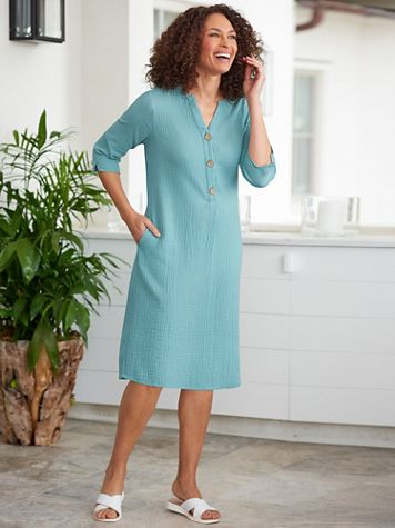 Easy Breezy 3/4 Sleeve Shirt Dress - Image 1 of 3