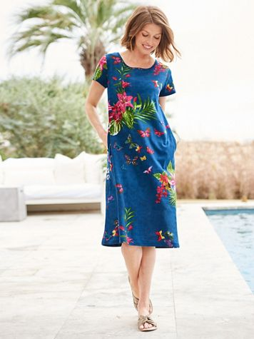 Butterfly Floral Short Sleeve Knit Dress - Image 2 of 2