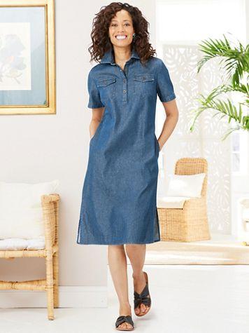 Everyday Denim Shirt Dress - Image 1 of 3