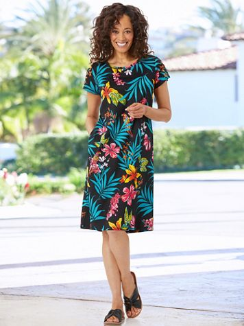 Parrots In Paradise Knit Short Sleeve Dress - Image 2 of 2