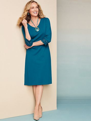 Lovely Lace 3/4 Sleeve Knit Dress - Image 1 of 3