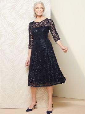 Lace 3/4 Sleeve Tea Length Dress