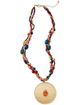 Beaded Multi Strand Pendant Necklace