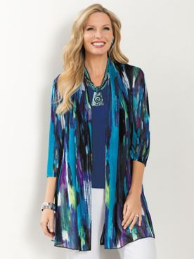 Stained Glass Print Mesh 3/4 Sleeve Open Front Jacket