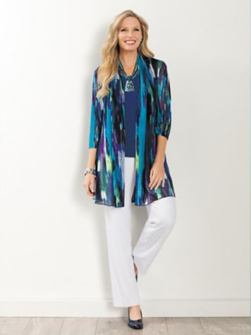 Stained Glass Print Mesh Jacket & Look-Of-Linen Pants