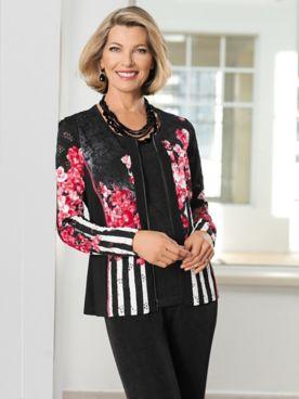 Floral & Stripe Knit Mesh Jacket