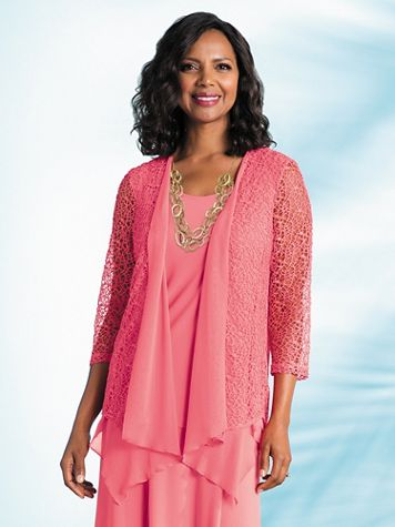 Made You Blush Crochet and Chiffon Jacket - Image 2 of 2