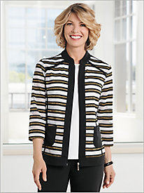 Mesh Stripe French Terry Jacket by D&D Lifestyle&#8482