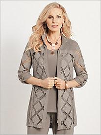 Square Knit Trimmed Jacket