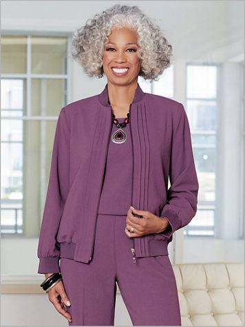 Textured Stretch Crepe Pintuck Jacket - Image 1 of 3