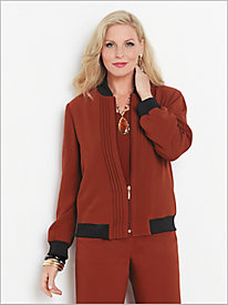Textured Stretch Crepe Pintuck Jacket
