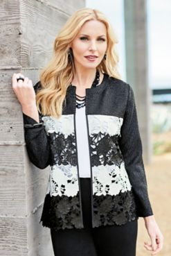 Lace Cut-Out Crinkle Jacket