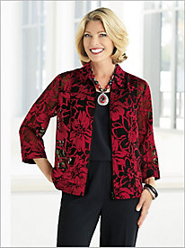 Poinsettia Burnout Jacket