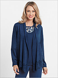 Microsuede Cut Out Jacket by Alfred Dunner