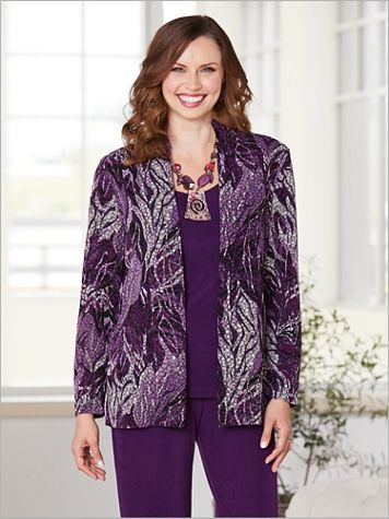 Signature Knits® Textured Print Jacket - Image 4 of 4
