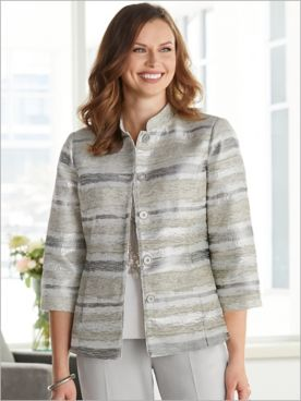 Metallic Stripe Jacquard Jacket