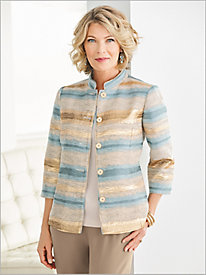 Metallic Stripe Jacquard Jacket