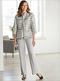 Metallic Stripe Jacquard Jacket & Look Of Linen Separates