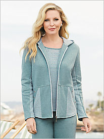Beach Pebble M&#233lange Knit Jacket by D&D Lifestyle&#8482