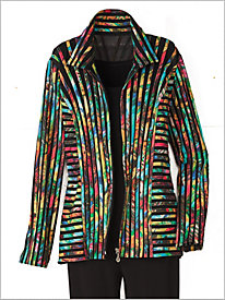 Printed Stripe Mesh Jacket