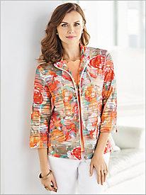 Watercolor Floral Print Jacket