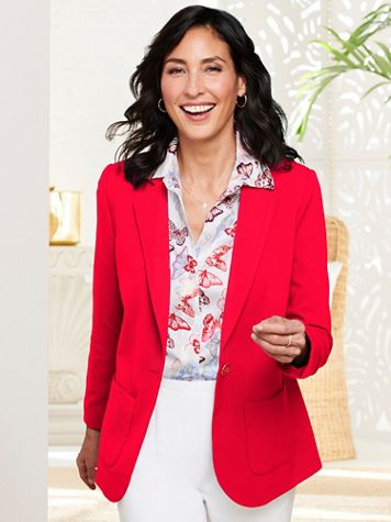 Look-Of-Linen Long Sleeve Blazer - Image 1 of 5
